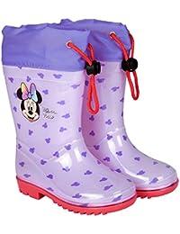 PERLETTI Stivali Pioggia Rosa Disney Minnie Bambina - Stivaletti Impermeabili Bimba Minni con Dettagli Rossi - Scarponcini in PVC con Suola Antiscivolo e Chiusura a Coulisse