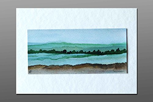 Postkarte + Briefumschlag / Landschaft No12 / Unikat / Aquarellkarte
