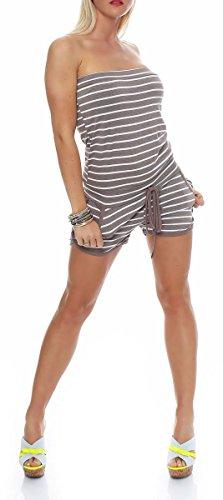 Malito Damen Einteiler gestreift | kurzer Overall im Marine Look | Jumpsuit mit Gürtel - Playsuit - Romper 9645 (Fango)