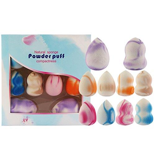 Gracelaza 8 pièces Blender Éponge de Maquillage - Pour appliquer base, fond de teint, correcteur - Poudre libre sans latex, hypoallergénique et sans odeur