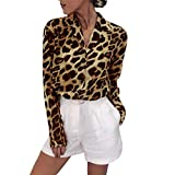 Yvelands Damen Mode Langarm T-Shirt Leopard Print Button Umlegekragen Bluse Shirt(CN-3XL,Braun)
