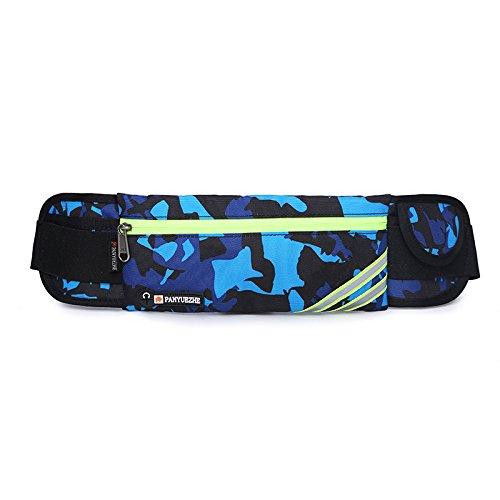 KANG@ Sport Taille Pack Multifunktions Running Männer und Frauen Outdoor Handy Tasche Anti-Diebstahl intime Stealth wasserdicht Beutel Camouflage Blau