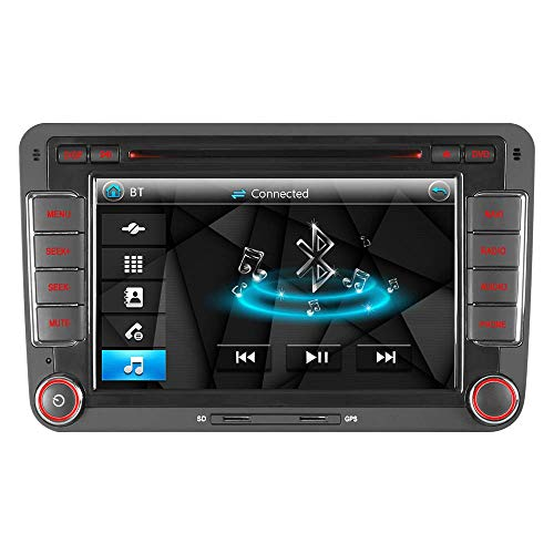 IAUCH Auto-GPS-Navigation mit 17,8 cm (7 Zoll) Touchscreen 2 DIN Autoradio für VW Passat Golf MK5 MK6 Touran Tiguan Unterstützung 3G DAB+ Bluetooth A2DP Musik Lenkradsteuerung Spiegel-Link (Rv-bluetooth-stereo -)