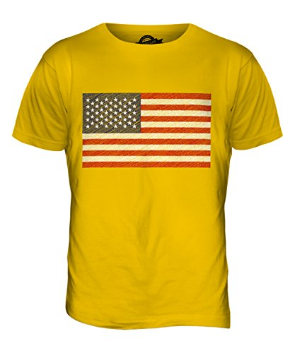 CandyMix Vereinigte Staaten Usa Sternenbanner Kritzelte Flagge Herren T Shirt Dunkelgelb