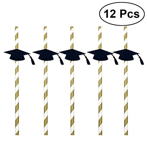 bestonzon 122018Graduation Cap Trinkhalme 2018Graduation Party Papier Deko Trinkhalme (schwarz) (Cap Papier Graduation)