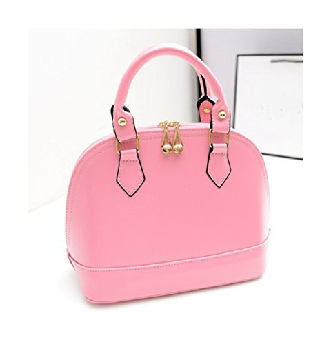 XY Fancy Damen mode süße einfarbige Handtasche Kunstleder Schultertasche Tasche Muschel-Tasche Henkeltaschen Handgelenkstasche, Rosa (Wallets Stoff Tragetaschen Handtaschen Geldbörsen)