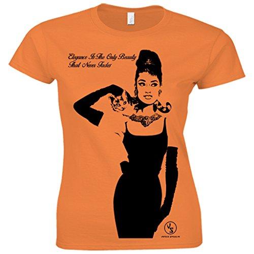 urban shaolin Womens Audrey Hepburn Frühstück bei Tiffany inspiriert Fitted T-Shirt, Klein, (Perücken Tiffany)