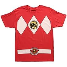 Mighty Morphin Power Rangers disfraz de camiseta para hombre, Rojo, XL