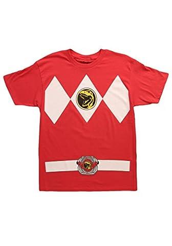 Male Power Costume Ranger - Power Rangers Déguisement Men's T-Shirt - Rouge