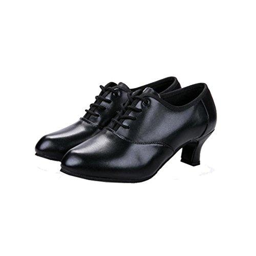 Byjia Womens Practice Anfänger Sneaker Block Heel Runde Zehen Leder Tanz Schuhe Latin Ballroom Black
