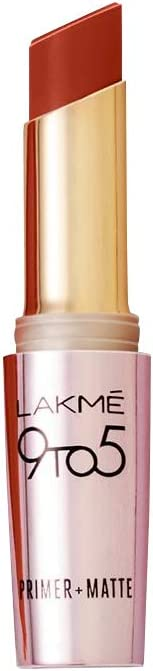 Lakme 9 to 5 Primer and Matte Lip Color, Red Rust, 3.6g
