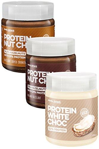 Body Attack Protein Choc 3er Pack, Low Carb-Aufstrich mit Whey (3x250g) (Protein Nut Choc Creamy Hazelnut, Protein Hazelnut Super Crunch, Protein White Choc)