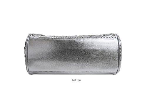 GSHGA Borse Per Donne Strass Crossbody Strass Platinum Pacchetto Borsa Chiusa,Silver Silver