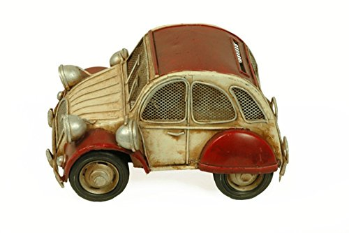 Figura Decorativa de Metal 'Coche Antiguo' con Hucha. Vehículos. Adornos y Esculturas. Coleccionismo. 18 x 13 x 9 cm.