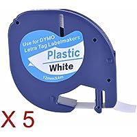5XCompatible Dymo LetraTag 91201 Black on White (12mm x 4m) Plastic Label Tapes for Dymo LetraTag LT-100H, LT-100T, LT-110T, QX 50, XR, XM, 2000, Plus Label Makers