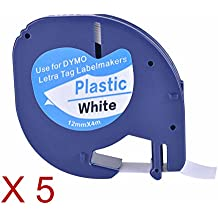 5XCompatible Dymo LetraTag 91201 Black on White (12mm x 4m) Plastic Label Tapes for Dymo LetraTag LT-100H, LT-100T, LT-110T, QX 50, XR, XM, 2000, Plus Label Makers