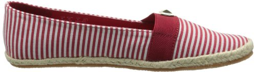 Soft Style Women's Hillary Flat,Navy/White Stripe Canvas,9 M US Red/White Stripe Canvas