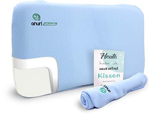 ANURI® | Babykissen gegen Plattkopf und Kopfverformung I 2-SCHICHTEN Protect System | Baby-Kopfkissen aus Anti-Allergen Memory Schaum | 0-24 Monate | 2 Kopfkissenbezüge | Himmelblau