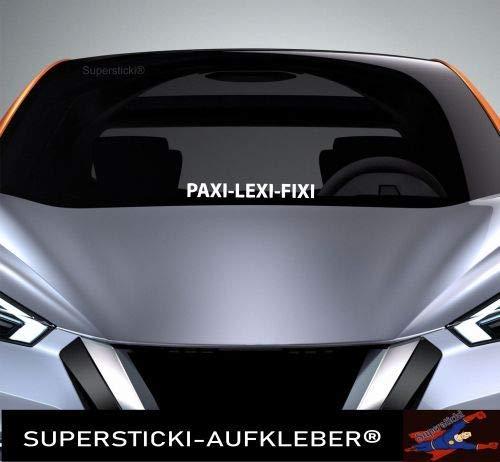 SUPERSTICKI Windschutzscheiben Sticker ca 40 cm Paxi- Lexi- Fixi Autoaufkleber Tuning Decal A951 aus Hochleistungsfolie Aufkleber Autoaufkleber Tuningaufkleber Hochleistungsfolie für alle glat