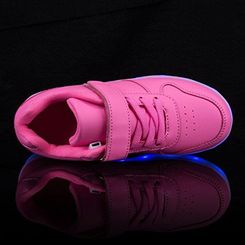 AFFINEST Led Chaussures de sport LED lumineux de charge USB Enfants garçons Filles Cadeau rose-B