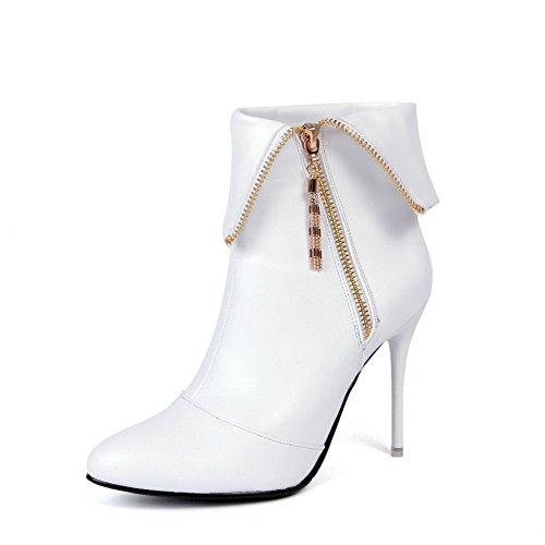 AgooLar Damen Hoher Absatz Spitz Zehe Reißverschluss Stiefel mit Metallisch Weiß