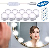 Vanity Lights for Mirror, DIY Hollywood Lighted Makeup Vanity Mirror with Dimmable Lights, Stick on LED Mirror Light Kit for Vanity Set, Plug in Makeup Light for Bathroom Wall Mirror, 10-Bulb