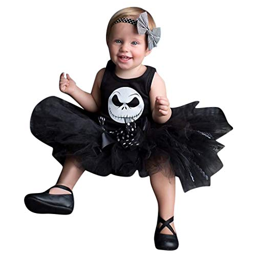 Kostüm Monate Baby 3 Girl - Rock Baby Girl Halloween Kind Nightmare Printing Bubbler Tutu Rock Kostüm Outfits Set Disguise Pyjamas 3-18 Monate Ceremony Style von QinMM