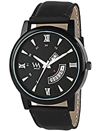 WM Black Dial Black Leather Strap Premium Branded Limited Edition Day And Date Collection Watch For Men DDWM-054...