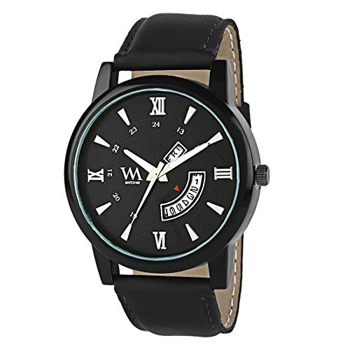 WM Black Dial Black Leather Strap Premium Branded Limited Edition Day and Date Collection Watch for Men DDWM-054 DDWM-054pop3kwc