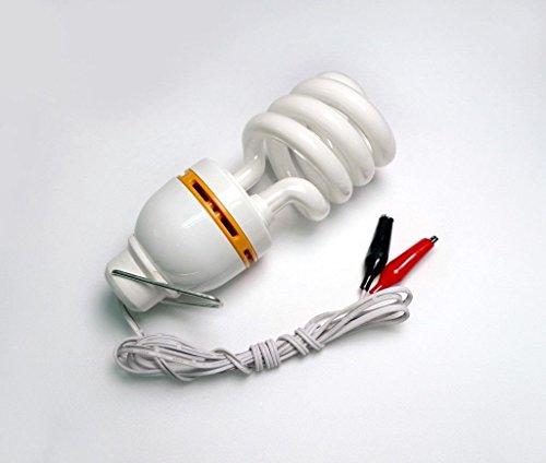 12vmonster DC 12V 15W, kompakt, fluoreszierendes Licht Glühbirne Kaltweiß Low Voltage CFL Lampe Verkabelung DC Akku Clamp (Low-voltage-verkabelung)