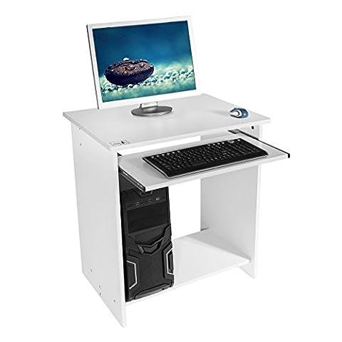 Harima - Khajoo Professioneller Weiß Computerwagen Computertisch Bürotisch PC Tisch Druckerablage Büromöbel Mit Ausziehbarer Tastaturablage Heim-PC Desktop