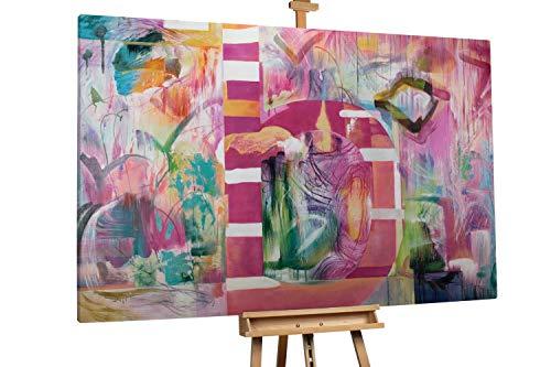 'Haute Couture' 180x120cm | Abstrakt Pink Grün Pastell Muster | Modernes Kunst Ölbild