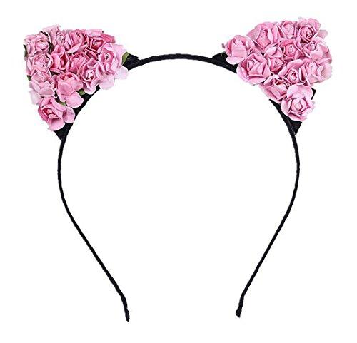 chen Blume Haarreif Cosplay Katzenohren Haarband Blumen Stirnband Halloween Weihnachten Festival Party Kopfband Kostüm Accessories Rosa (Blumen-kind-halloween-kostüme)