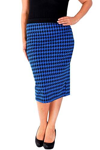 Nouvelle Collection Dogtooth Ponte Pencil Skirt Royal Blue 24-26 (Royal Pencil Skirt Blue)