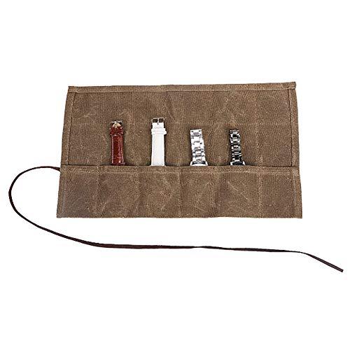 Reise-Uhren-Aufbewahrungstasche zum Aufbewahren, handgefertigt, robust, 340 ml, gewachstes Segeltuch, für bis zu 6 Uhren - beste Geschenkidee für Männer und Frauen (CS-SBD01)