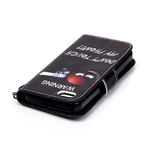 Apple iPhone 5C Coque,Etsue Fine Folio PU Cuir Coque Coloré Motif Case de Téléphone Mobile pour Apple iPhone 5C[Jeune Fille],Porte-carte Support Fermeture Aimantée Portefeuille Pochette Housse en Cuir 'WARNING'
