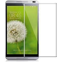 Protector de pantalla Cristal templado para Huawei MediaPad M1 8.0 Calidad HD, Grosor 0,3mm, Bordes redondeados 2,5D, alta resistencia a golpes 9H. No deja burbujas en la colocación (Incluye instrucciones y soporte en Español)