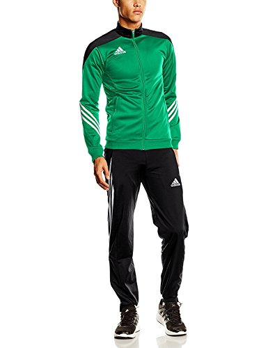 adidas Herren Fußball Trainingsanzug Sere14,Top:Twilight Green/Black/White Bottom:Black/White,XS