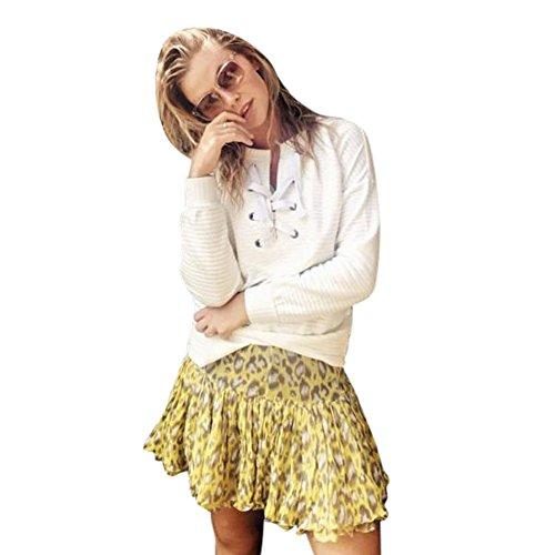 FORH Damen weich langarm Sweatshirt Baumwolle Mantel Reizvolle Chest Verband Outwear Straße Mode Pullover Bluse (M, Weiß) (Langarm-bluse Gap)