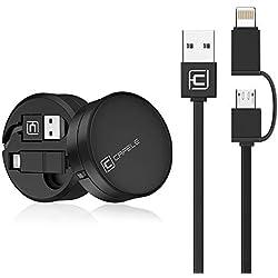 CAFELE Câble rétractable IP & ღ Micro USB 2 en 1 pour Transfert de données 1,3 m Noir
