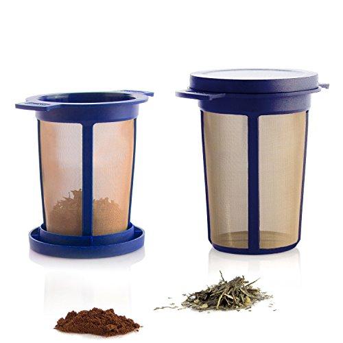 Dauerfilter für Tee und Kaffee - Permanentfilter mit Gewebe aus Edelstahl - Teefilter und Kaffeefilter - Tassen Filteraufsatz Größe L, Blau ()
