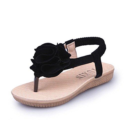 Sandalen Floral Patchwork Kristall Römischen Sandalen Prinzessin Strand Schuhe Freizeitschuhe Nette Rot Schwarz Beige 25-35 (28 EU, Schwarz) (Disney Prinzessin Schuhe Für Mädchen)
