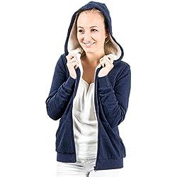 Sweat à capuche femme pulls à capuche pullover veste sweat doublure chaude Bleu (M)