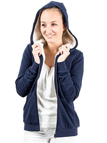 Damen Sweatjacke mit Kapuze hochwertig verarbeitet - kuschelig & warm blau M