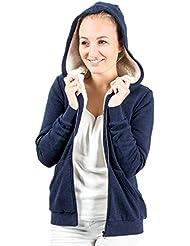 Damen Hoodie Kapuzenpullover Pullover Jacke Sweatjacke warm gefüttert