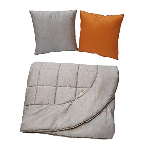 Borbonese trapuntino estivo matrimoniale melange più due cuscini arredo 100% di cotone di cotone