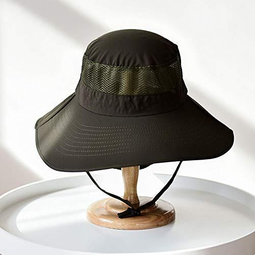 Sonnenbrillenhut mit breiter Krempe Sommer UV-Schutz Strandhut Showerproof Safari-Hut Faltbarer Angelhut mit verstellbarem Kinnriemen und atmungsaktiver Mesh-Krone,003,M (Krone 003)