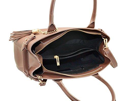 VERONICA Sacs portés main sac à bandoulière avec pendentif avec franges en cuir de veau Epi, fabriqué en Italie rouge