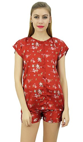 Bimba Damen Floral Satin Rot Pj Set Herunterfahren Shirt, Shorts, Nacht Kleid - 38 (Button-down-pj)