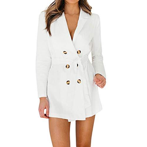 IZHH Damen Mantel, Fashion Damen Langarm Stehkragen geknöpft Taille Trenchcoat Solide Stilvolle Duster Blazer Jacke Coat(Weiß,X-Large) -